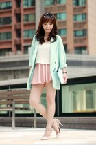 light pink skirt - aquamarine One Way blazer - light blue clutch kate spade bag