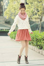 Off-white-floral-knit-snidel-sweater-light-brown-suede-boots