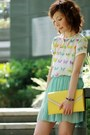 White-zara-top-light-yellow-bag-aquamarine-pleated-chiffon-skirt