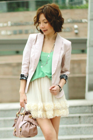 light pink H&M blazer - light pink bow satchel Miu Miu bag - Primark socks