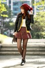 Maroon-tweed-choies-skirt-black-cut-out-persunmall-boots
