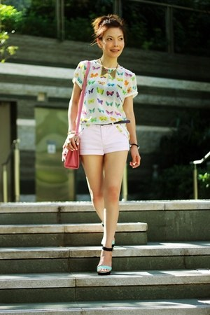 bubble gum satchel bag - light pink H&M shorts - white Zara top