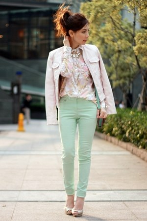 light pink faux leather Forever 21 jacket - light pink floral H&amp;M shirt