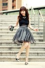 Black-bag-silver-choies-wedges-black-front-row-shop-skirt-white-necklace