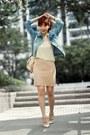Light-blue-denim-sheinside-jacket-peach-backpack-topshop-bag