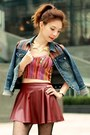 Blue-forever-21-jacket-maroon-faux-leather-skirt-ruby-red-forever-21-top