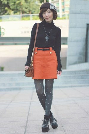 carrot orange gold buttons H&M skirt - dark brown Lids hat