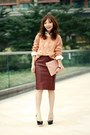 Maroon-choies-skirt-coral-sheinside-sweater-off-white-floral-print-shirt