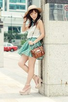 turquoise blue floral skirt - tan Monki hat