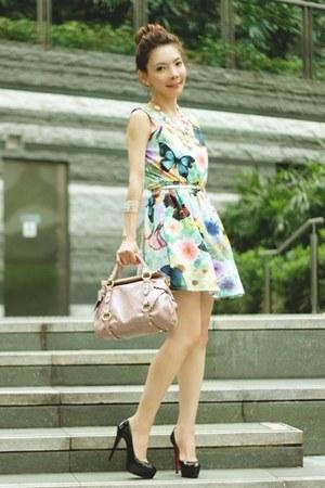 light pink H&M necklace - light blue dress - light pink Miu Miu bag