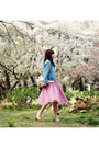bubble gum midi tulle DIY skirt - light blue denim Sheinside jacket