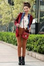 Blue-h-m-shirt-ruby-red-h-m-bag-maroon-knit-crosses-cardigan