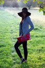 Black-h-m-hat-periwinkle-jacket-heather-gray-sweater-black-leggings