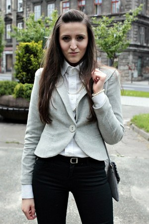heather gray Caterina blazer - white second hand shirt - black Bershka pants
