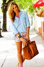 Blue-jean-cotton-on-shirt-light-orange-gucci-bag