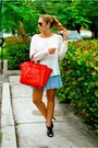 Blue-uteque-shoes-red-celine-bag