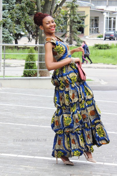 ankara dress - brick red pieces bag - cream studded Zara heels