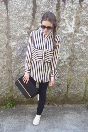 black OASAP blouse - beige Converse sneakers