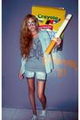 Gray-forever-21-sweater-blue-miley-cyrus-shirt-blue-custom-made-shorts-whi