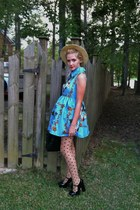polka dot Forever 21 stockings - blue floral romwe dress
