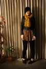 Black-knit-by-me-hat-gold-thrifted-scarf-thrifted-dress-black-j-brand-jean