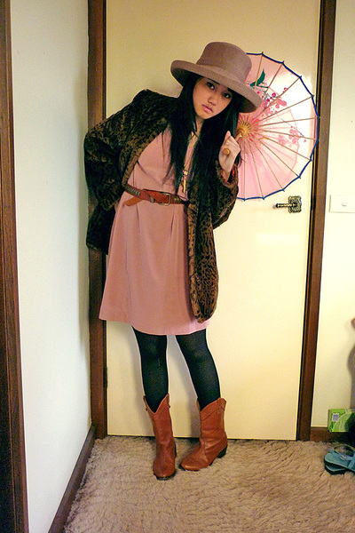 brown Morgan & Taylor hat - brown vintage coat - pink vintage dress - black Home