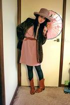 brown Morgan & Taylor hat - brown vintage coat - pink vintage dress - black Home