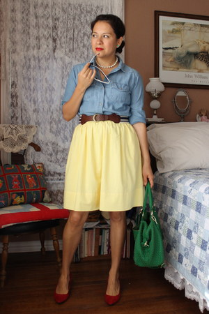refashioned skirt - thrifted shirt - TJ Maxx bag - TJ Maxx pumps