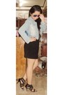 Light-blue-jacket-sunglasses-black-skirt-black-heels-white-blouse