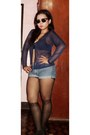 Blue-shorts-navy-sheer-cardigan-black-bra-black-stockings-black-heels
