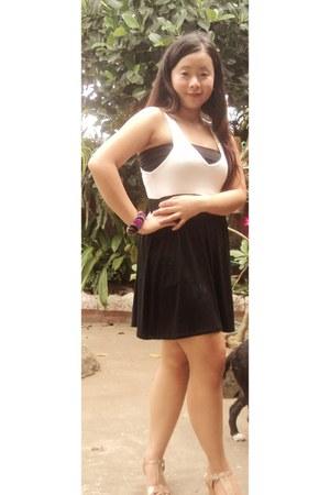 black v-neck mini dress - black tube top - camel wedges - bracelet