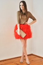 carrot orange Zara skirt