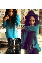 black combat boots boots - black hat - teal Ross sweater - black leggings Charlo
