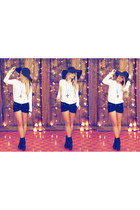 black betts boots - black diy shorts DIY shorts - white white shirt Azuki top