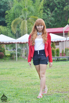 ruby red Local store blazer - black Local store shorts - white Local store top