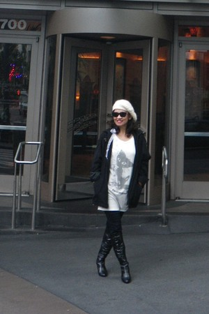 off white hat - black coat - white shirt - black tights - black boots