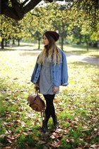 Topshop dress - Topshop hat - vintage jacket - Primark bag