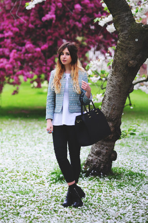 aquamarine Topshop jacket - black H&amp;M boots - black Oasis jeans