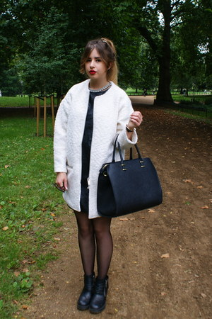 white Forever 21 coat - black Oasis dress - black H&M bag