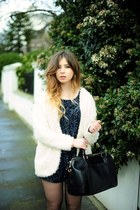 cream H&M cardigan - H&M boots - black warehouse bag - navy River Island romper