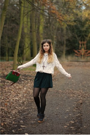 ivory topsgop jumper - forest green Topshop dress - dark green chicnova bag