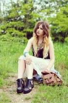 cream Topshop skirt - black H&M boots - black H&M top