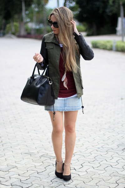 military Sheinside coat - black OASAP bag