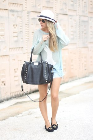Aldo bag - romwe sweater - Zara shorts - Melissa via Spartoo loafers