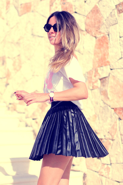armani sunglasses - leather pleated romwe skirt - Little -id t-shirt