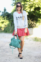 paris Mango sweater - balenciaga bag - leather red romwe skirt