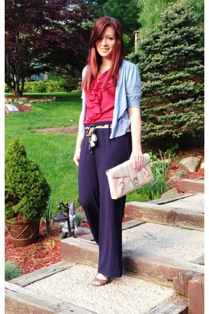 ruby red ruffles Ralph Lauren blouse - navy wide leg Ellen Tracy pants