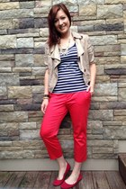 red Ralph Lauren pants - bronze Tahari jacket - navy Ralph Lauren top