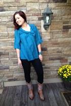 blue BCBG shirt - tawny Cavenders boots