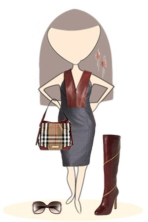 Diane Von Furstenberg boots - leather Alexander Wang dress - Burberry bag